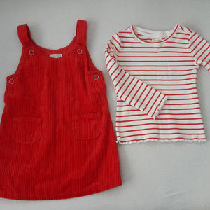 Red corduroy jumper w/ white & red striped top